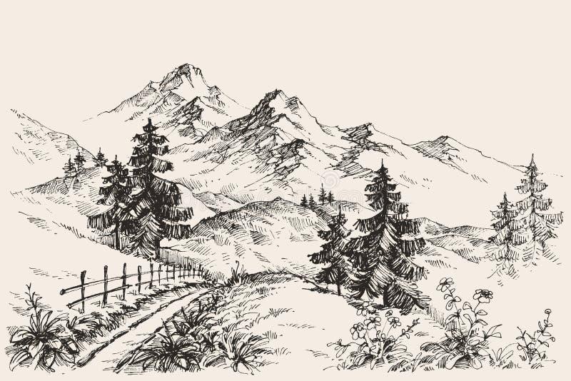 Góry nakreślenie ilustracja wektor