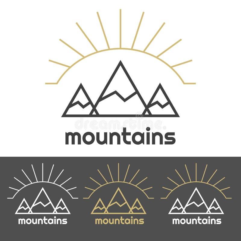 Góry obozują logo z wschodem słońca za wzgórzami ilustracja wektor