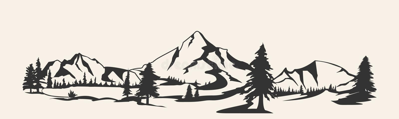Góry Pasmo górskie sylwetka odizolowywająca Halna ilustracja royalty ilustracja