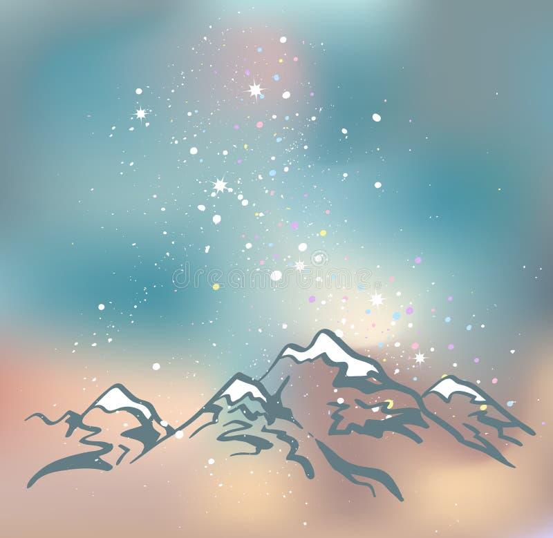 Góry przy nighttime tło idzie więcej mój portfolio widzii przestrzeń ilustracja wektor
