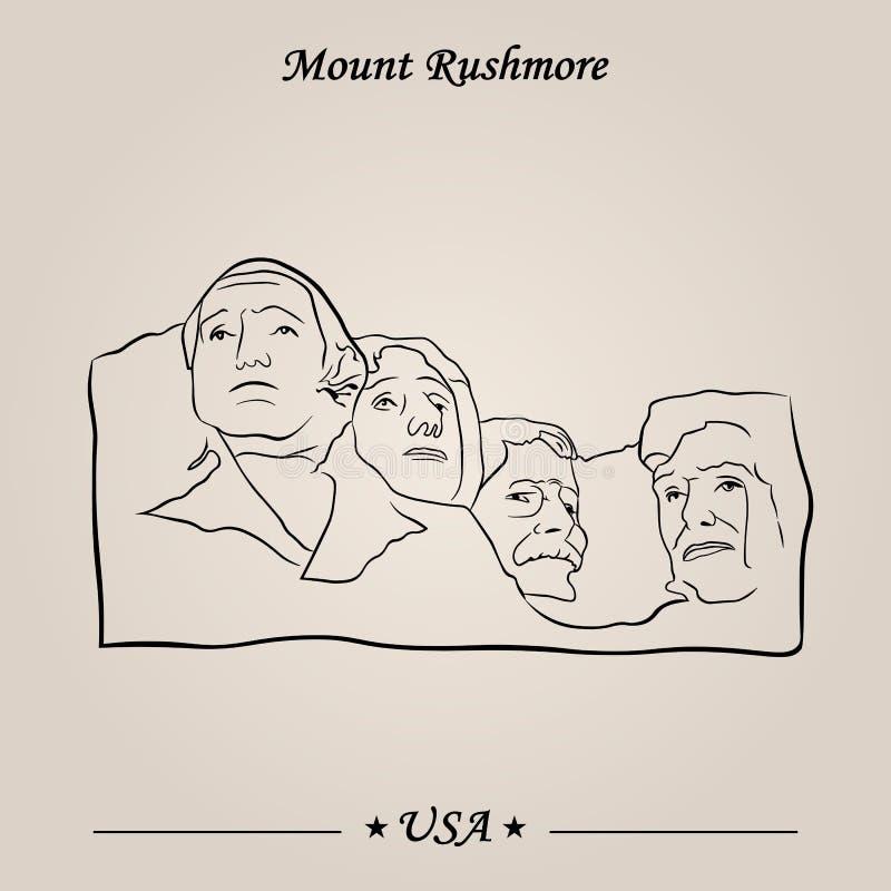 Góry Rushmore zabytek Wektor, Światowi przyciągania royalty ilustracja