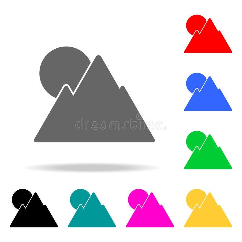Góry słońca ikona Elementy w wielo- barwionych ikonach dla mobilnych pojęcia i sieci apps Ikony dla strona internetowa projekta i ilustracji
