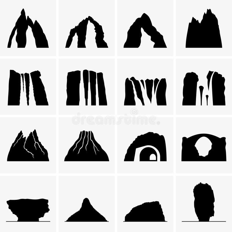 Góry, siklawy, volcanoes, wyspy ilustracja wektor