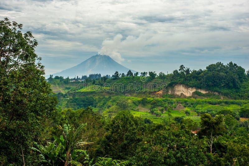Góry Sinabung wulkan w Północnym Sumatra zdjęcia royalty free
