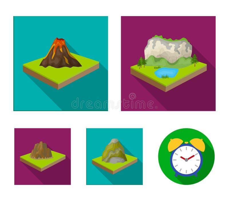 Góry, skały i krajobraz, Ulga i góry ustawiać inkasowe ikony w mieszkanie stylu symbolu isometric wektorowym zapasie ilustracji