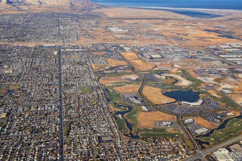 Góry Skaliste, Oquirrh, widoki z powietrza, Wasatch Front Rock z samolotu Południowa Jordania, Dolina Zachodnia, Magna i Herriman obrazy royalty free