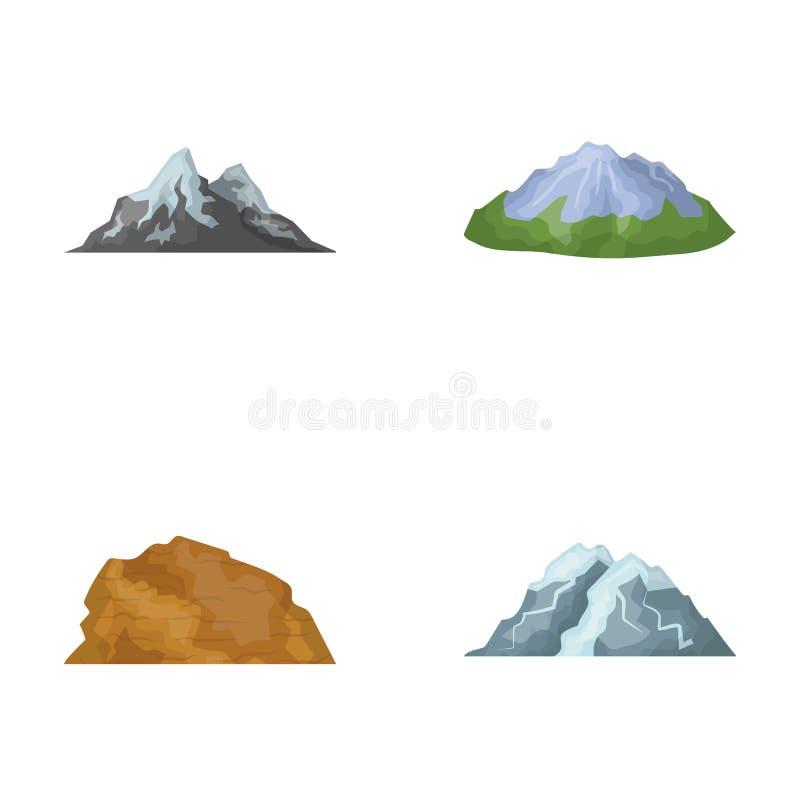 Góry w pustyni, śnieżny szczyt, wyspa z lodowem, nakrywająca góra Różne góry ustawiać ilustracja wektor