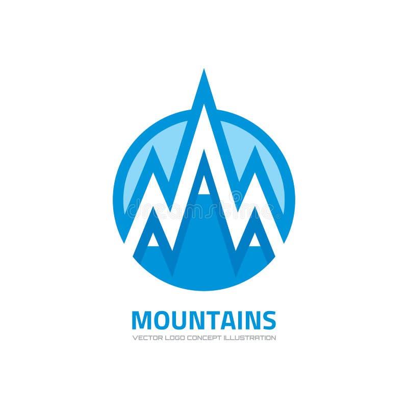 Góry - wektorowa loga szablonu pojęcia ilustracja Wyprawy mountaineering znak Turystyka symbol elementy projektu podobieństwo ilu royalty ilustracja