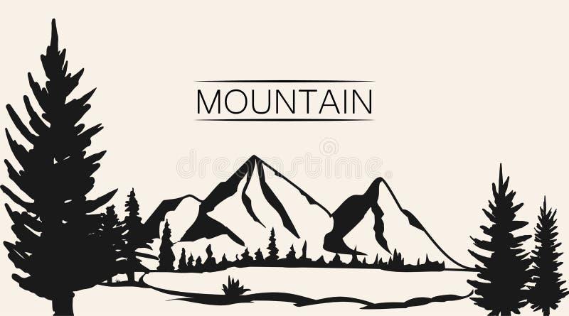 Góry wektorowe Pasmo górskie sylwetka odizolowywająca Halna Wektorowa ilustracja royalty ilustracja
