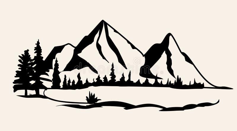 Góry wektorowe Pasmo górskie sylwetki odosobniona wektorowa ilustracja royalty ilustracja