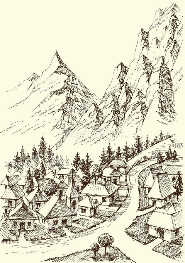 Góry wioski ręki rysunek ilustracji