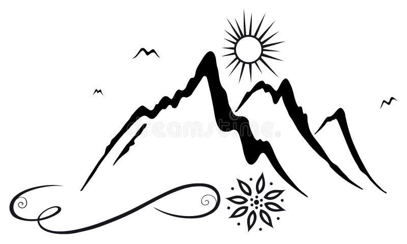 Góry, wycieczkowicze royalty ilustracja