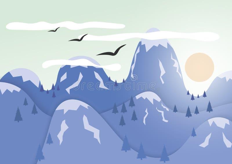 Góry z czapą lodowa Słońce kryjówki za górami royalty ilustracja