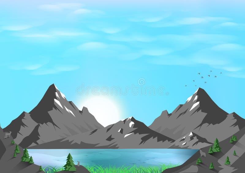 Góry, zwierzęca przyroda, przygoda podróżny pocztówkowy wektor royalty ilustracja