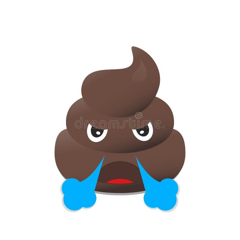 Gówna emoji Poo emoticon Kaku twarz odizolowywająca ilustracji