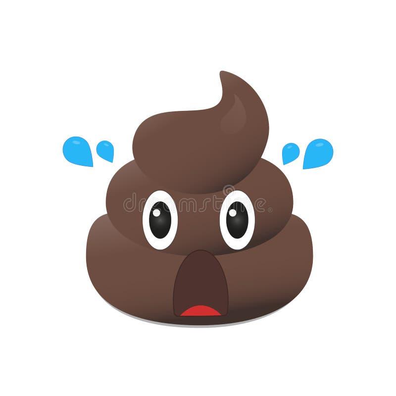 Gówna emoji Poo emoticon Kaku twarz odizolowywająca ilustracja wektor