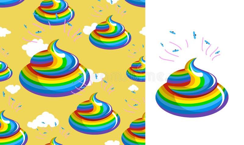 Gówno jednorożec wzór Turd tęczy kolory Kal tęcza fantastyczna ilustracji