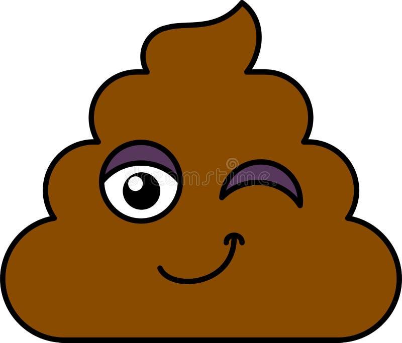 Gówno, mrugnięcia emoji wektoru ilustracja ilustracji