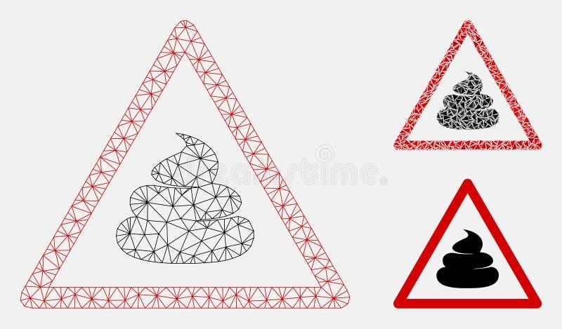 Gówno siatki Drucianej ramy trójboka i modela mozaiki Ostrzegawcza Wektorowa ikona ilustracja wektor