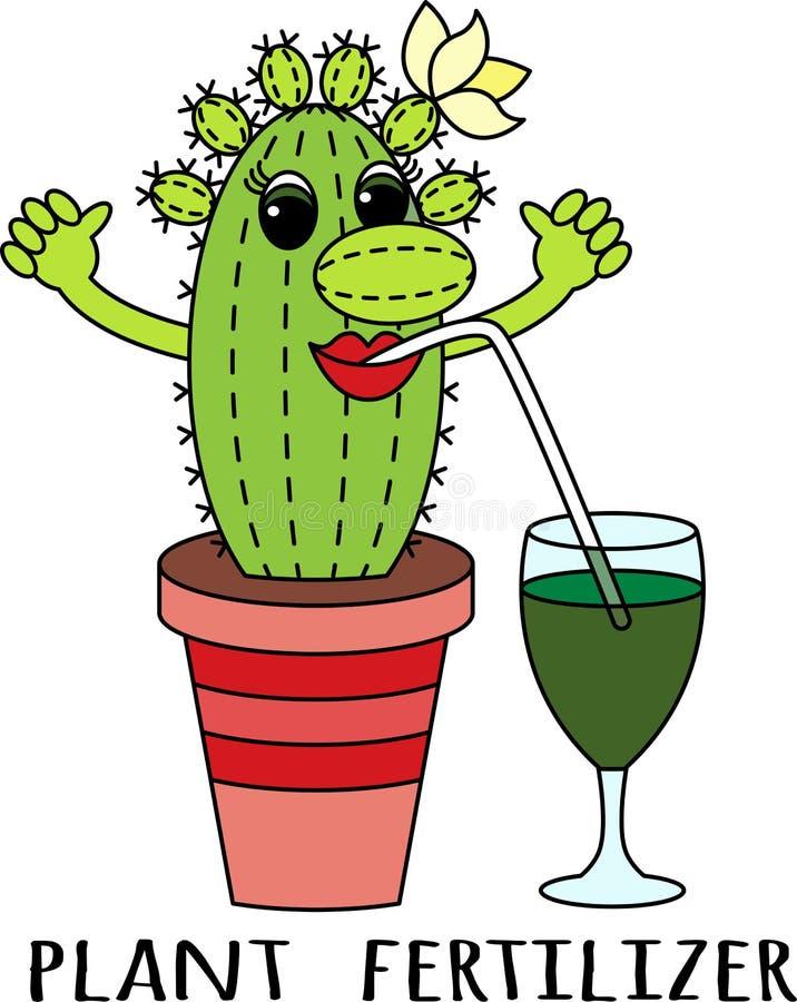 Gödningsmedel för suckulenter Dricker den roliga färgrika kaktuns för tecknade filmen en gödningsmedelcoctail royaltyfri illustrationer