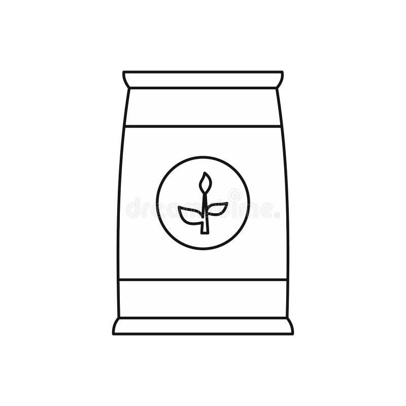 Gödningsmedelpåsesymbol, översiktsstil stock illustrationer