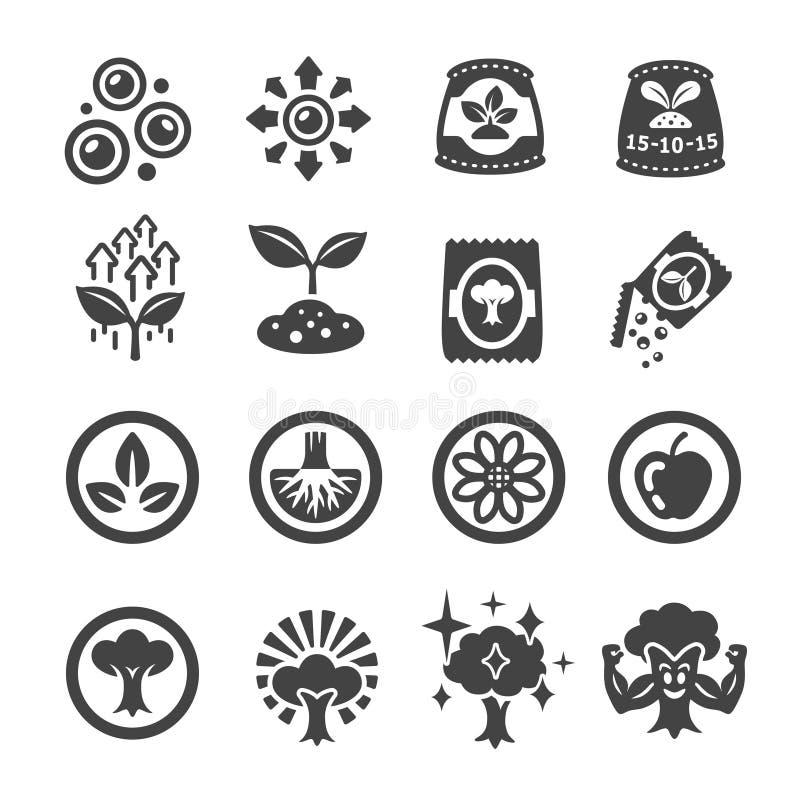 Gödningsmedelsymbolsuppsättning royaltyfri illustrationer