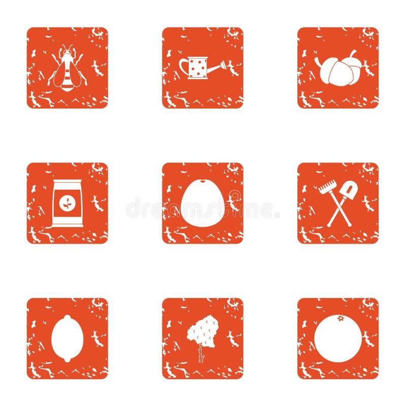 Gödningsmedelsymbolsuppsättning, grungestil stock illustrationer