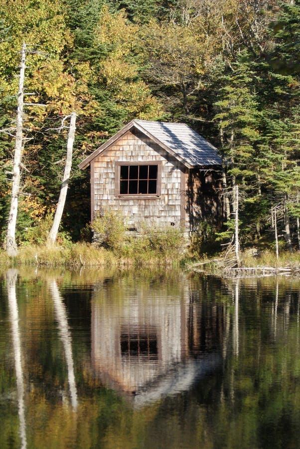 Gömd Lakesidekabin royaltyfria bilder