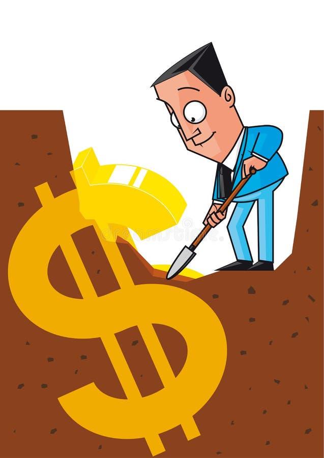 Gömda pengar vektor illustrationer