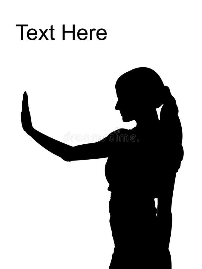 gömma i handflatan att posera stoppa kvinnan stock illustrationer