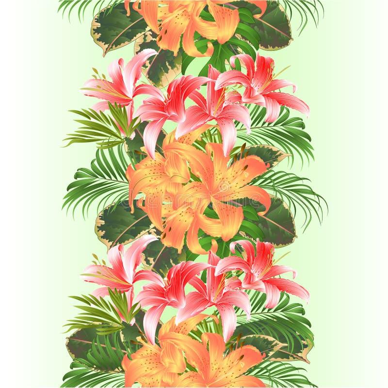 Gömma i handflatan den blom- ordningen för vertikala tropiska sömlösa bakgrundsblommor för gränsen, med härliga gula och rosa lil stock illustrationer