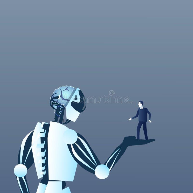 Gömma i handflatan den hållande människan för roboten på modern konstgjord och för folkintelligens futuristisk för mekanism tekno vektor illustrationer