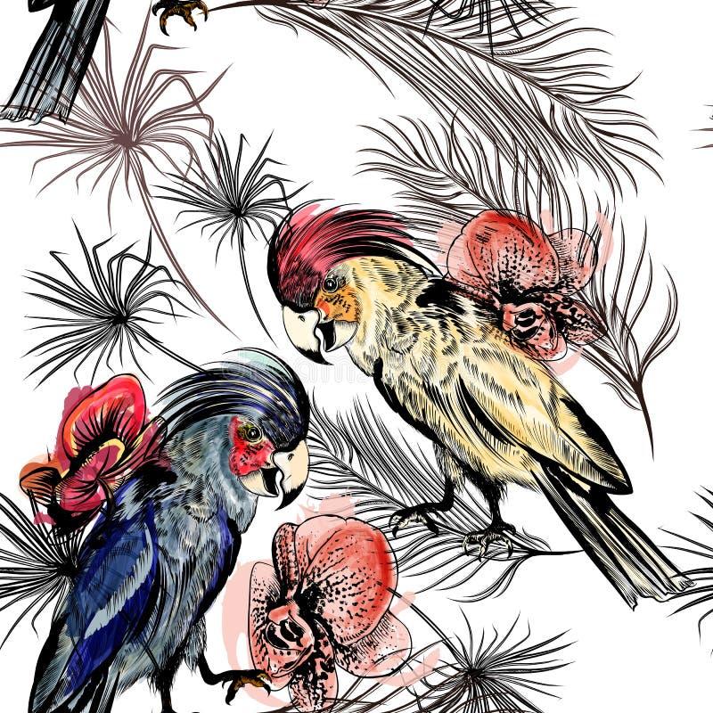 Gömma i handflatan den sömlösa illustrationen för vektorn på ett tropiskt tema blad och stock illustrationer