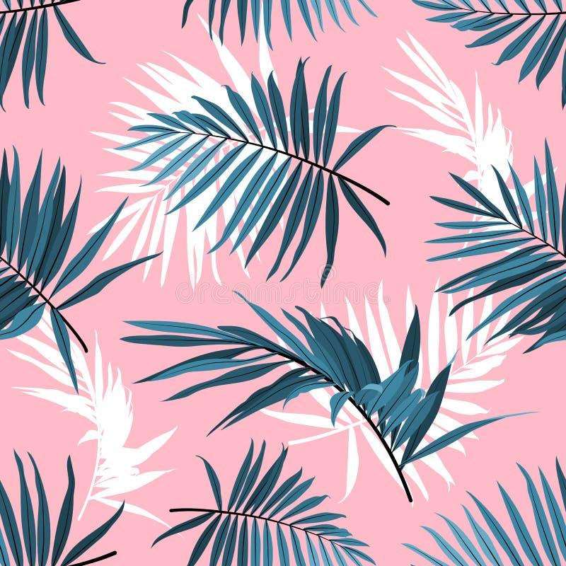 Gömma i handflatan den sömlösa modellen för tropiska sidor, gräsplan ormbunksblad på en rosa bakgrund Tropisk bakgrund för sommar royaltyfri illustrationer