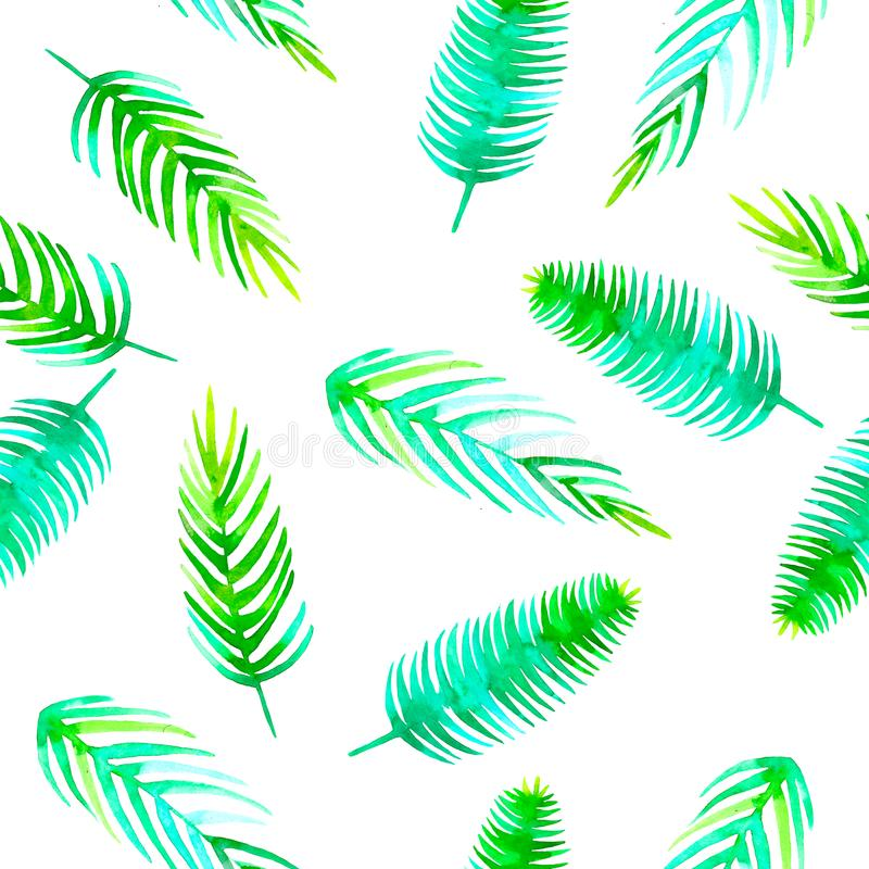 Gömma i handflatan den sömlösa tropiska modellen för vattenfärgsommar med kokosnöten för beståndsdelen för djungelbladet den roma royaltyfri illustrationer