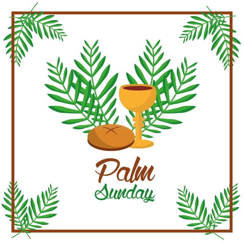 Gömma i handflatan den söndag brödkoppen och lämnar trädet att inrama garnering stock illustrationer
