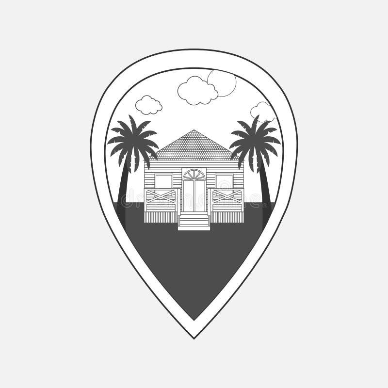 Gömma i handflatan den svartvita illustrationen för vektorn av översiktsstiftet med strandhuset och vektor illustrationer