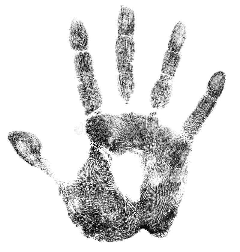 Gömma i handflatan det isolerade trycket eller handprint arkivfoto