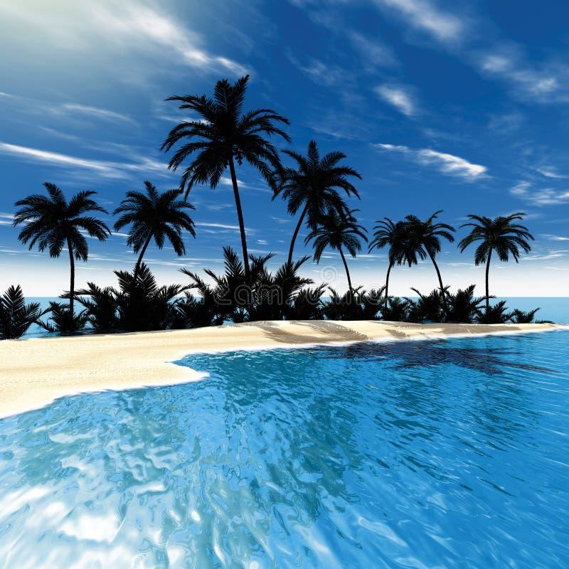 gömma i handflatan det tropiska havet royaltyfri illustrationer