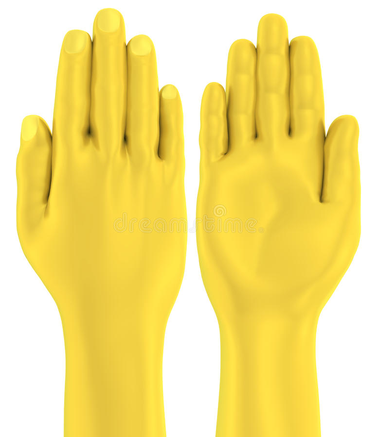 gömma i handflatan drar tillbaka den guld- lägenheten för handen 3D framdelen och stock illustrationer
