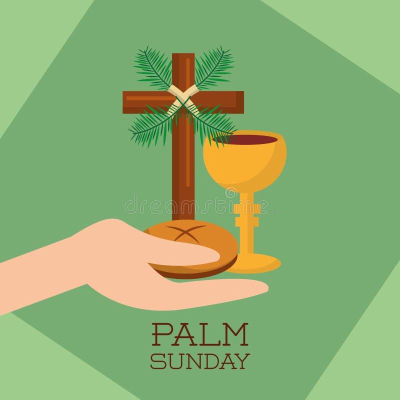 Gömma i handflatan för jesus christ för koppen för bröd för det söndag handinnehavet bakgrund gräsplan stock illustrationer