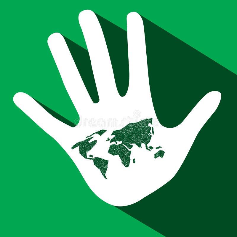 Gömma i handflatan handen med världskartan stock illustrationer