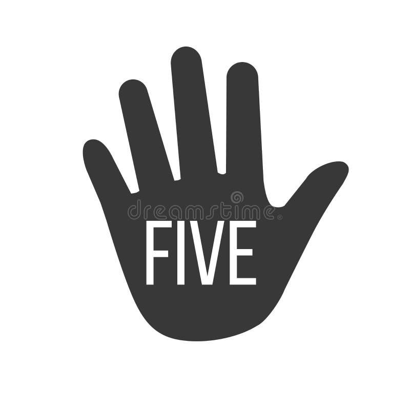 Gömma i handflatan handen och fem fingrar med tecken fem också vektor för coreldrawillustration royaltyfri illustrationer
