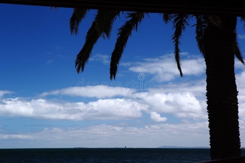 Gömma i handflatan, havs- och himmelkonturn royaltyfria foton