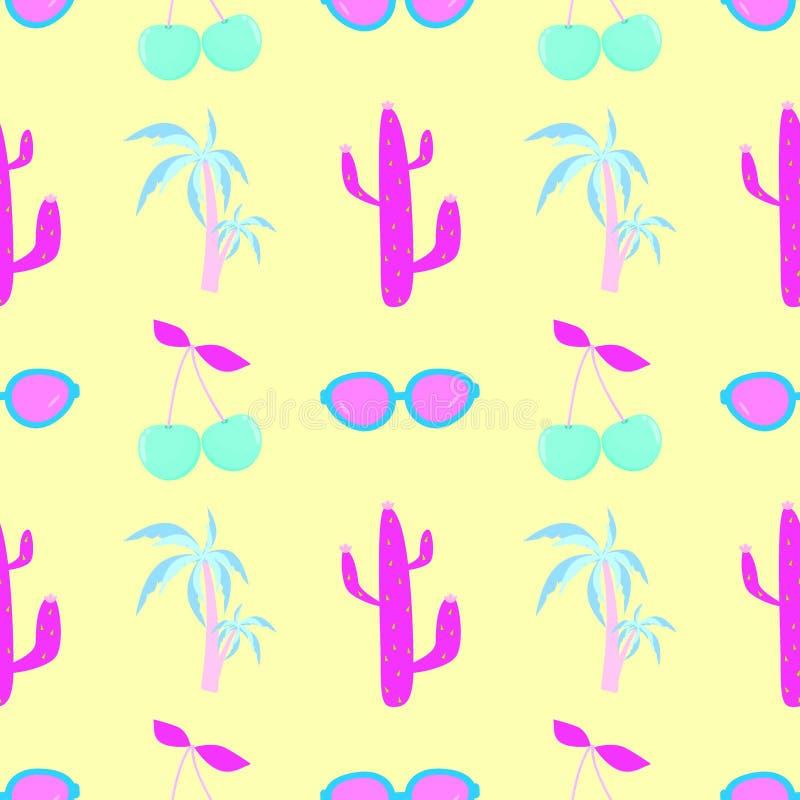 Gömma i handflatan körsbärsröda kaktusexponeringsglas den sömlösa modellen, trycket som packar vektor illustrationer
