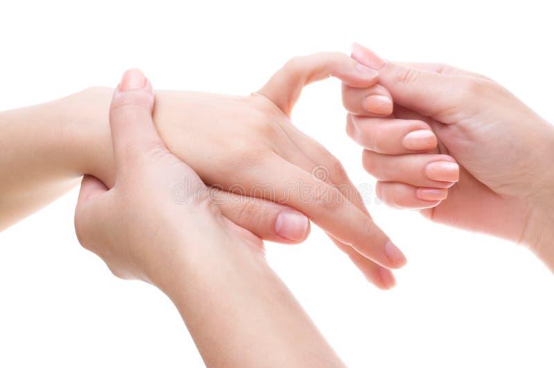 Gömma i handflatan massagen royaltyfri foto