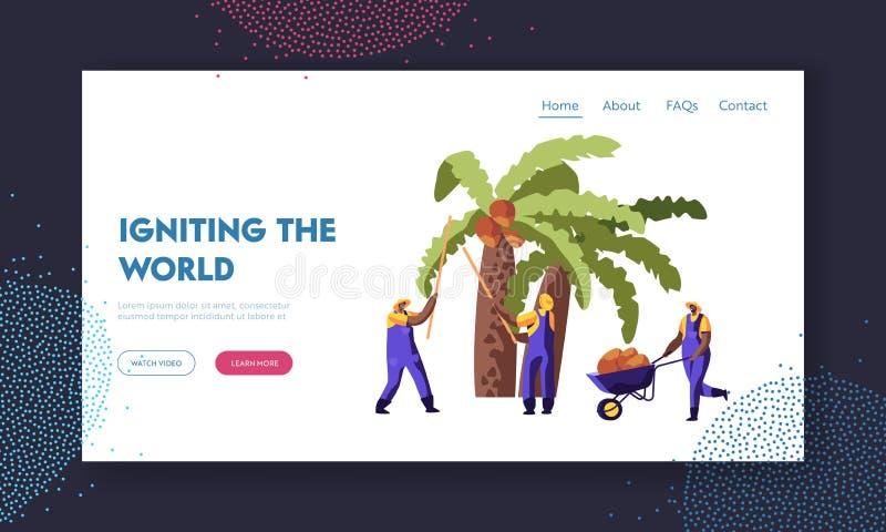 Gömma i handflatan olja - producera För arbetare kokosnötter mot efterkrav från palmträdet, säsongsbetonat arbete, arbetare som t royaltyfri illustrationer