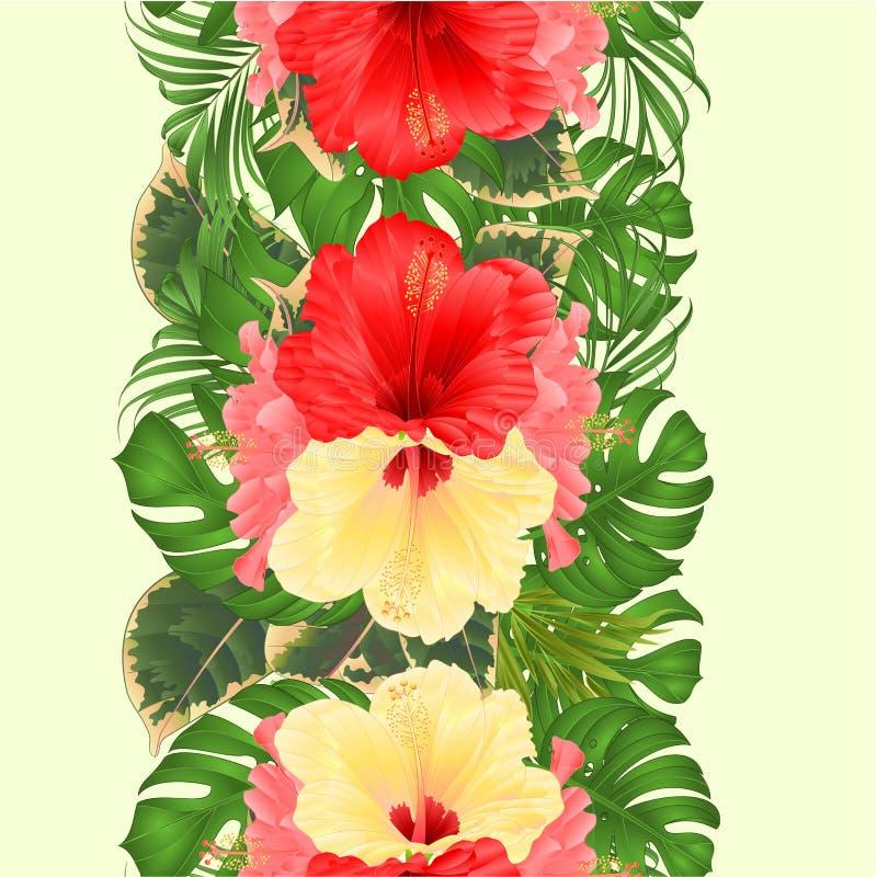 Gömma i handflatan sömlös bakgrund för den blom- vertikala gränsen med rosa för tropiska blommor den härliga gula och röda hibisk royaltyfri illustrationer