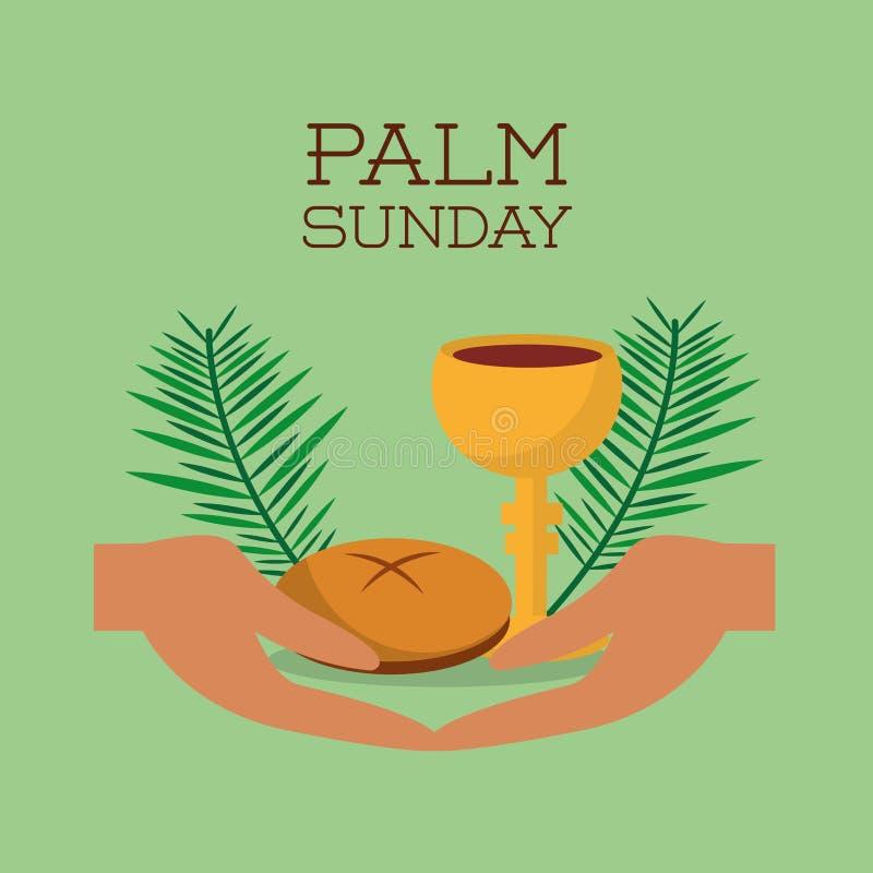 Gömma i handflatan söndag händer bröd och grön bakgrund för kopp vektor illustrationer