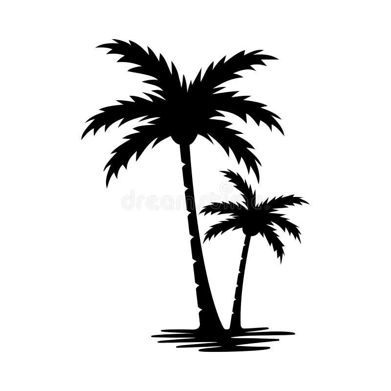 gömma i handflatan silhouettetreen royaltyfri illustrationer